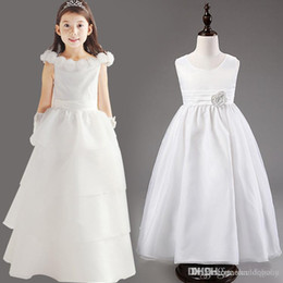 Wholesale Tutu Length Age - High QUALITY Noble Girls Wedding Pageant Flower Dress Communion Tulle Tutu Junior Bridesmaid Dress with Bow Tie Sash for Age 3-12T