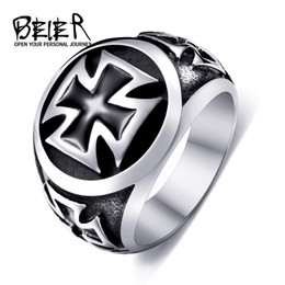 Wholesale Cross Rings For Sale - One Piece Sale Titanium Cross Ring For Man 316L Stainless Steel Unique Fashion Male's Cross Ring For Boy BR8-073