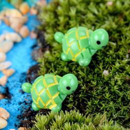miniature decorations for terrariums Promo Codes - artificial cute green tortoise animals fairy garden miniatures mini gnomes moss terrariums resin crafts figurines for garden decoration