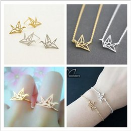 Wholesale China Origami Paper - Origami Paper Crane Necklace Bracelet Earring Ring Parure Bijoux Origami Paper Crane Stainless Steel Jewelry Sets for Women