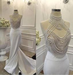 Fashion formales imágenes online-Sexy Fashion Pearls Mermaid Prom Dress Imagen Real de cuello alto vestido de noche largo vestido formal de baile de fin de curso Robe de soirée 2017 Floor Length