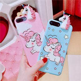 Wholesale Cute Silicone Phone Cases - 3D Cute Unicorn Cases for iPhone x 7 plus 8 Silicone Cartoon Soft Phone Cover for iPhone 8 6 6s Plus TPU Case
