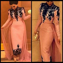 Wholesale Sheer Ankle Length Robe - 2017 Robe De Bal Vestidos De Gala Vintage Long Sleeve Pink Evening Dresses With Detachable Train Black Lace High Neck Prom Party Gowns