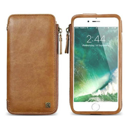 Wholesale Iphone Case Lanyard Wallet - For iphone 6 6S 7 Plus Universal Wallet Leather Case PU Pouch with Card Slots Lanyards Multi function Phone Bag