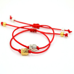 Wholesale rope ring gold - Wholesale- AoSong Gold color Buddha head Amulet bracelet Red rope thread string braided men women Reiki hombres Chakra bracelet pulseira