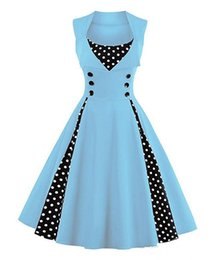 Wholesale Knee Length Swing Cocktail Dress - New hot summer plus size 5XL Women's Polka Dot Retro Vintage Style Cocktail Party Swing Dress