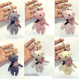 Wholesale Teddy Bear Doll Charm - Teddy Bear Dolls Keychains Key Chain Ring Holder, Woman Bag Handbag Car Charm Golf Bag Cart Pendant