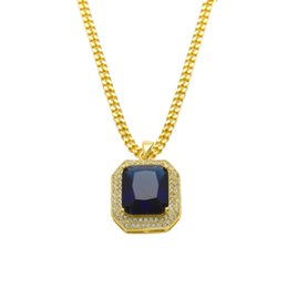 Wholesale Necklace Chains 3mm Gold - HipHop Mens 14k Gold Plated Iced Out Red Ruby Octagon Necklace Pendant with 3mm Chain Men Women Red Black Ruby Necklace