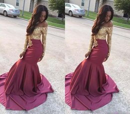 Wholesale cheap ruffled shirts - 2017 Luxury Prom Dresses Cheap Off Shoulder Golden Appliques Long Sleeve Sation Party Dresses Cheap Custom Made Mermaid Evening Gowns