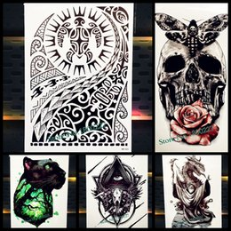 Wholesale Indian Bellies - Large Body Art Arm Sleeves Temporary Tattoo Sticker Fast Furious Dwayne Rock Johnson Tattoo PHB523 Fake Tatoo Men Indian Totem