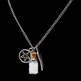 Wholesale Pentagram Charms - Wholesale-free shipping 2016 hot fashion detail Supernatural Necklace Salt Bottle Angel Wing Design Pentagram Charm Pendant