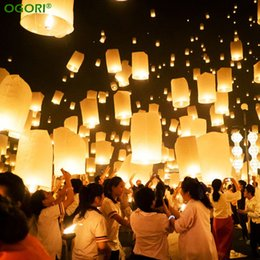 Wholesale Sky Lantern Balloons - Chinese Paper Lantern Sky Lanterns Flying Wishing Lamp Kongming Lantern Balloon Wedding Party Decoration
