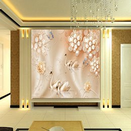 Wholesale Luxury Classic European Living Room - Free Shipping 3D Stereo Custom Luxury European Silk Pearl Flower Swan TV Backdrop Living Room Lobby Wallpaper Mural