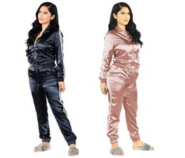Wholesale Top Summer Tracksuits For Women - Satin two piece set tracksuit for women elegant top and pants set 2017 womens casual sweat suits fitness summer outfits