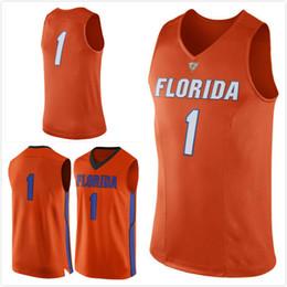 Wholesale Florida Gators Jersey Xl - No.1 Florida Gators Mens College Basketball Jersey orange white embroidery setback cheap Men Jerseys size S-3XL