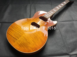 Wholesale Electric Guitar Amber - high grade electric guitar half finished,no parts, amber yellow see thru,one piece body and neck!free shipping!