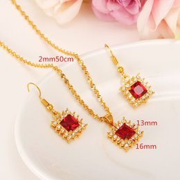 Wholesale Red Color Necklace - Queen New Red color square Zircon Bridal Wedding Jewelry Sets with 18k Solid Yellow Fine Golid CZ Necklaces Pendant Earring Women