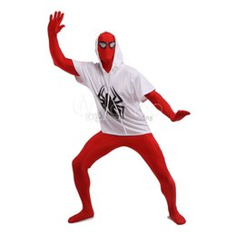 Wholesale sexy zentai spiderman - Red and White Spiderman Cosplay Costumes Unitard Lycra Spandex Full Body Zentai Suit Costumes