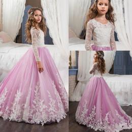 Vintage dentelle princesse robes de fille de fleur 2018 manches longues col de bijou avec des appliques rose robes de fête enfant première communion robe BA4311 ? partir de fabricateur