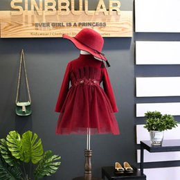 Wholesale Formal Crimson Dress - Red floral Girls Dresses Fashion Childrens Princess Dresses Long sleeve Formal Dresses knitting Child Dress Kids Clothes Wholesale A1437