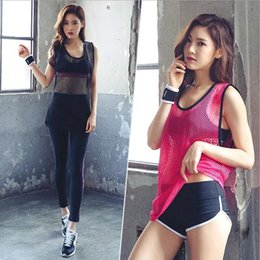 Wholesale Net S - Summer new yoga suit waistcoat women's fitness exercise running show thin, dry net yarn splicing short sleeves