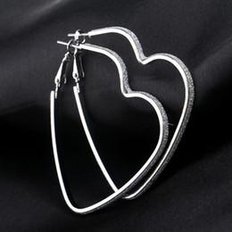 Wholesale Hoops For Earrings - Love Heart Pendant Earrings Silver Gold Plated Hoop Earrings Rings Ear Cuffs Pendants Fashion Jewelry for Women Gift Drop Shipping