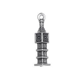 Wholesale Bell Clocks - Antique Silver Plated Infinity Sign & Bell Clock Tower & Vintage Fan Charms Zinc Alloy Charms for DIY Jewelry Making 100PCS A Lot