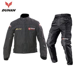 Wholesale Armor Motorcycle Clothing - DUHAN Professional Men's Motorcycle Motocross Off-Road Racing Jacket Body Armor+ Riding Pants Clothing Set black blue red