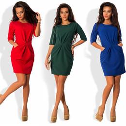 Wholesale Half Sleeve Womens Summer Dress - Womens Dresses 2016 O-Neck Half Sleeve Sheath Casusl Package hip Dress Blue Black Red Autumn Female Dress Plus size