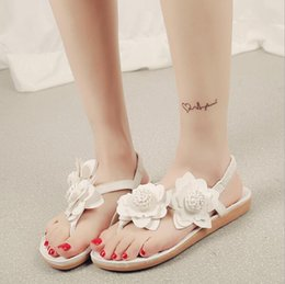 Wholesale Band Elastic Flower Ladies - 2017 Summer Fashion Women's Sandals Hotsales Big Size Women's Shoes Elastic Band PU Flat Heel Flower Sandalias Ladies Shoes