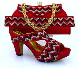 Wholesale Beautiful Wedge Heel Red - Beautiful high heel 9.8CM african shoes matching handbag sets with rhinestone decoration ladies shoes for party dress MM1010 red