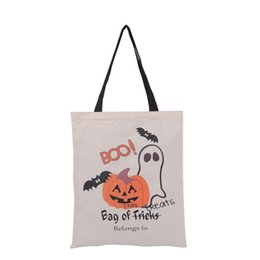 Wholesale Large Candy Decorations - Christmas Gift Bags Large Cotton Canvas Hand Bags Pumpkin,Devil,Spider Printed Halloween Candy Gift Bags Gift Sack Bag