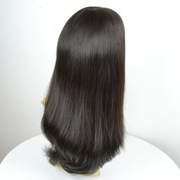 Wholesale wig long straight hair 34 - Custom Natural color long layer Women's Kosher Jewish wigs skin top 1B 2# human hair wigs straight no dyed