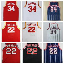 Wholesale Dry Mix - Throwback #34 Hakeem Olajuwon Jersey Red White Blue Stripe Black #22 Clyde Drexler Jersey 3 Steve Francis Retro Basketball Jerseys Mix Order