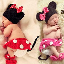 Wholesale Hat Shoes - Crochet Baby Girls Minnie Photo Props Baby Crochet Cartoon Hat Skirt Pants Shoes Sets Infant Baby Cartoon Outfits 2017 BP010