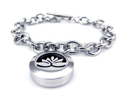 Wholesale Lotus Wholesale - Wholesale-Round Silver Lotus (20mm) with Circle Band Aromatherapy   Essential Oils Diffuser Locket Bracelet Jewelry