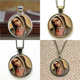 Wholesale Mary Heart - 10pcs Guadalupe Our Lady of Guadalupe Virgin Mary Sacred Heart Religious Art Necklace keyring bookmark cufflink earring bracelet