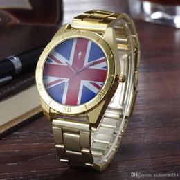 Wholesale Pins Flags - Fashion AD Clover women's Men's unisex 3 leaf leaves British flag style dial Steel metal band quartz wrist watch AD07