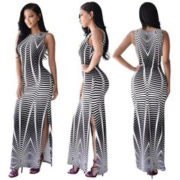 Wholesale Patterns For Long Dresses - hot new fashion spider pattern printed sleeveless cap sleeve ankle length summer long bodycon split gown dress for women