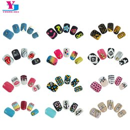 Wholesale Ongles Design - Wholesale- New 24pcs Pack Pre Glue False Nails French Nep nagels Artificial Fake Nails Nail Art Design Nail Tips Faux Ongles 3D Tip Sticker