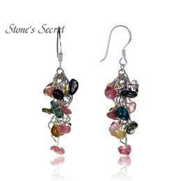 Wholesale Tourmaline Jewelry For Women - Elegant Muticolor Genuine Tourmaline Grape String Shaped Chandelier Earrings for Women Natural Healing Stone Fine Jewelry