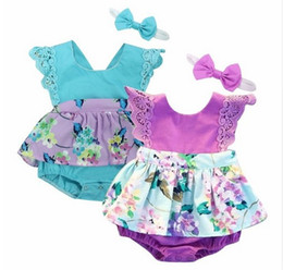 Wholesale Girls Rose Floral Dress - INS baby girls kids 2piece set Rose floral Lace Romper Onesies Jumpsuits dress + Bow headband Hollow Sleeve 2017 Summer clothes clothing