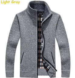 Wholesale Turtleneck Cashmere Jumpers - Turtleneck Full Zip Cardigan Mens Jumpers Brand Christmas Men's Clothing Winter Thick Coat Cashmere Sweater Men Brand Knitted