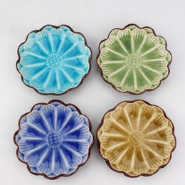 Wholesale Lotus Ceramics - 11*2.3cm Japanese Style Colorful Ceramic Sunflower Lotus Shape Food Dish Fruit Plate Snack Tray Tableware Kitchen Tool ZA3450