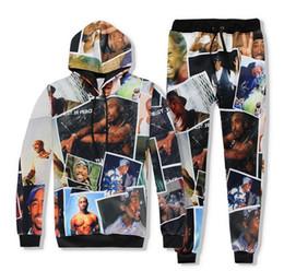 Wholesale Digital Neck Print - 2pac Hoodie + Pants Tupac 3D digital printing Joggers Tracksuit Unisex Sweatshirts Outfit For Men And Women