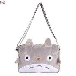 Wholesale Plush Pillow Totoro - Wholesale- Totoro Cartoon Cat Crossbody Bags Plush Phone Plush Bag Purse Cute Gray Shoulder Bag Pendant TOY Gift Coin Kawaii Bag SV005731