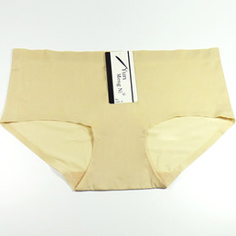 Wholesale Soft Silk Panties - Women Sexy Solid Invisible Seamless Soft Briefs Lingerie Briefs Hipster Ice Silk Underwear Panties