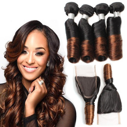 Wholesale Human Hair Romance Curls - High Quality Ombre Human Hair Weave Bundles with Lace Closure Colored Brazilian Virgin Hair T1b 30 Loose Wave Romance Sprial Curl Funmi Hair