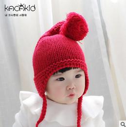 Wholesale Crochet Muff - Baby chirstmas cap newborn photo props girls big pompon ear muff autumn winter boys knitting warm newboy hat fashion children gift T0359
