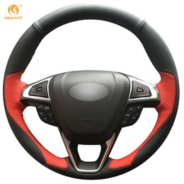 Wholesale ford leather - Mewant Black Red Leather Car Steering Wheel Cover for Ford Fusion Mondeo 2013 2014 EDGE 2015 2016